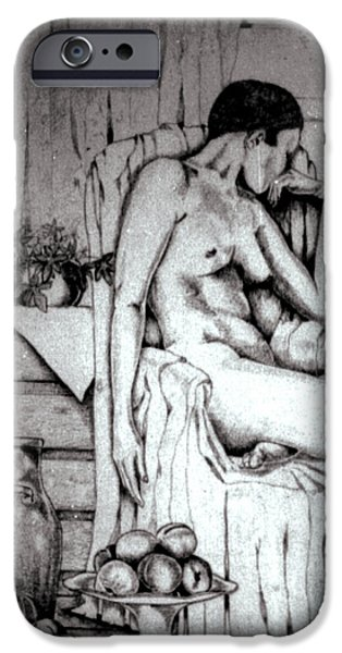 Support Drawings iPhone Cases - Nude with fruit iPhone Case by Anne Dalton