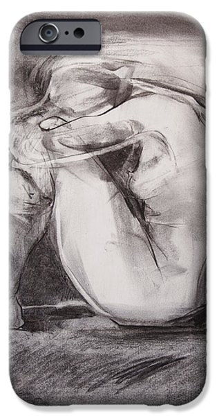 Feminine Pastels iPhone Cases - Nude with head on knees iPhone Case by Janet Goddard
