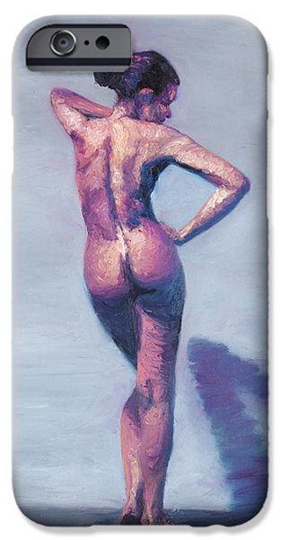 Gallery Sati iPhone Cases - Nude Woman in Finger Strokes iPhone Case by Shelley  Irish
