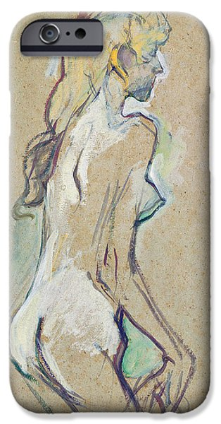Feminine Pastels iPhone Cases - Nude Young Girl iPhone Case by Henri de Toulouse-Lautrec