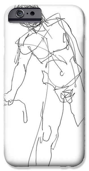 Model iPhone Cases - Nude_Male_Drawing_30 iPhone Case by Gordon Punt