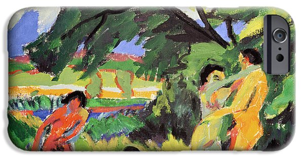 Field. Cloud iPhone Cases - Nudes Playing under Tree iPhone Case by Ernst Ludwig Kirchner