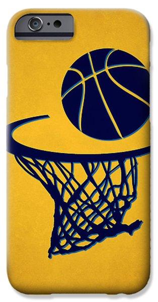 Nba iPhone Cases - Nuggets Team Hoop2 iPhone Case by Joe Hamilton