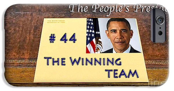 Michelle Obama Photographs iPhone Cases - Number 44 - The Winning Team iPhone Case by Terry Wallace