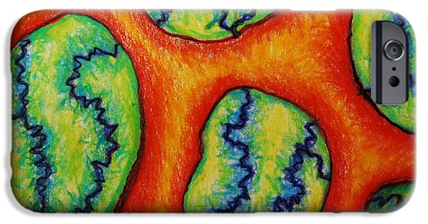 Colored Pencil Abstract Drawings iPhone Cases - Number 6 iPhone Case by Nancy Mueller
