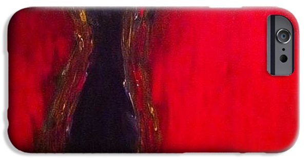 Red Abstract iPhone Cases - Number 9 iPhone Case by M Watson