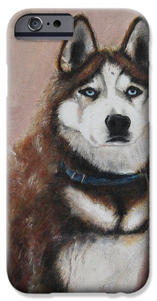Huskies Pastels iPhone Cases - Nunyett iPhone Case by Jeanne Fischer