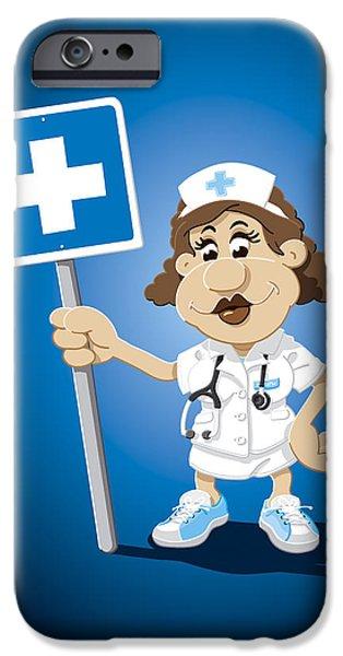 Ramspott iPhone Cases - Nurse Cartoon Woman Hospital Sign iPhone Case by Frank Ramspott