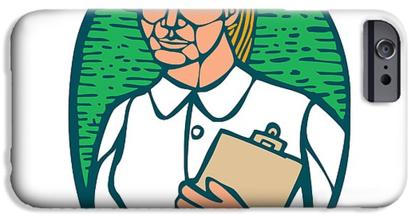 Block Prints iPhone Cases - Nurse Holding Clipboard Oval Woodcut Linocut iPhone Case by Aloysius Patrimonio