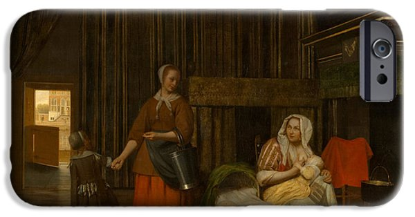 Domestic Scene iPhone Cases - Nursing Mother and maid with child iPhone Case by Pieter de Hooch
