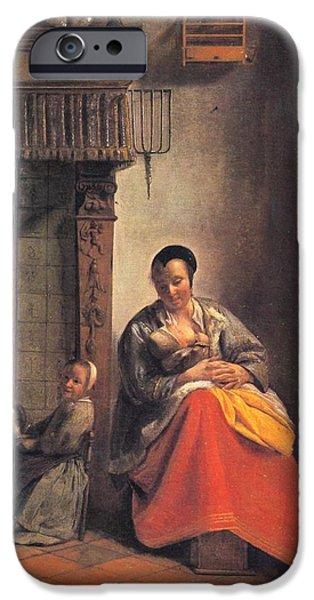 Domestic Scene iPhone Cases - Nursing mother iPhone Case by Pieter de Hooch