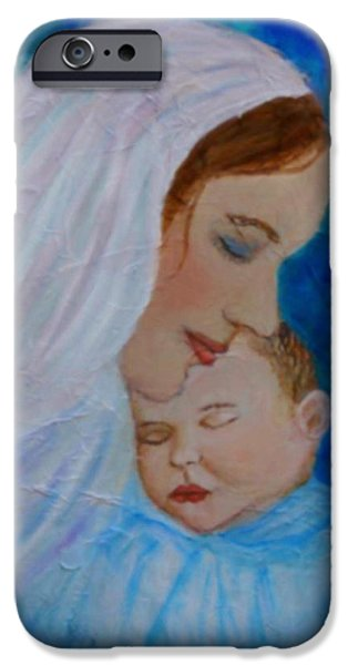 Spiritual Portrait Of Woman iPhone Cases - Nurturing Love Of A Mother  iPhone Case by The Art With A Heart By Charlotte Phillips