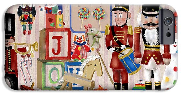 Toy Shop iPhone Cases - Nutcracker And Friends iPhone Case by Arline Wagner