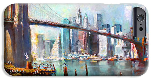 Reflection Paintings iPhone Cases - NY City Brooklyn Bridge II iPhone Case by Ylli Haruni