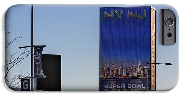 Sign iPhone Cases - NY NJ Super Bowl XLVIII iPhone Case by Susan Candelario