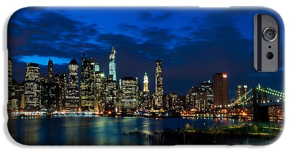 I Love America iPhone Cases - NY Skyline from Brooklyn Heights Promenade iPhone Case by Mitchell R Grosky
