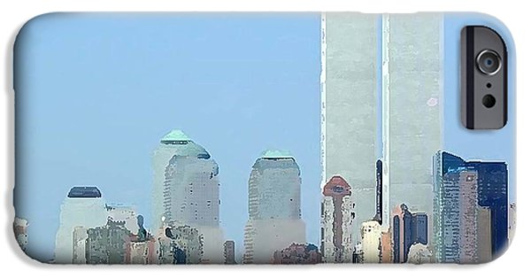 Twin Towers Nyc Digital iPhone Cases - NY Twins iPhone Case by Bryan Burnham