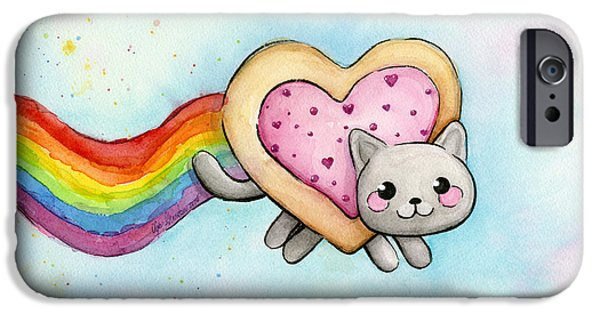 Shapes Paintings iPhone Cases - Nyan Cat Valentine Heart iPhone Case by Olga Shvartsur