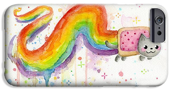 Cat Prints iPhone Cases - Nyan Cat Watercolor iPhone Case by Olga Shvartsur