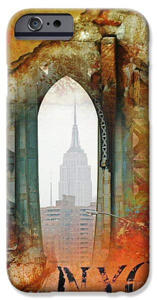 Brooklyn Bridge Mixed Media iPhone Cases - NYC Empire State Building Abstract Collage iPhone Case by Anahi DeCanio - ArtyZen Studios