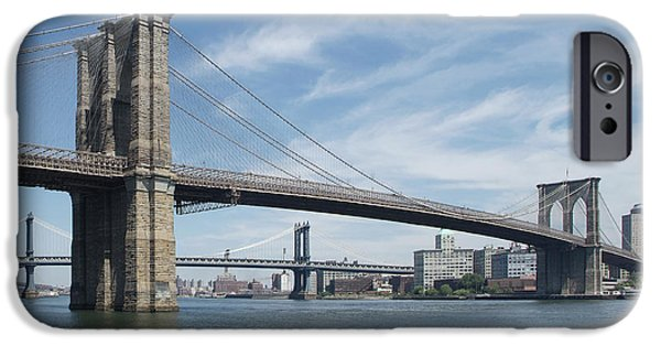 Brooklyn Bridge Digital Art iPhone Cases - NYC Brooklyn and Manhattan Bridges iPhone Case by Mike McGlothlen