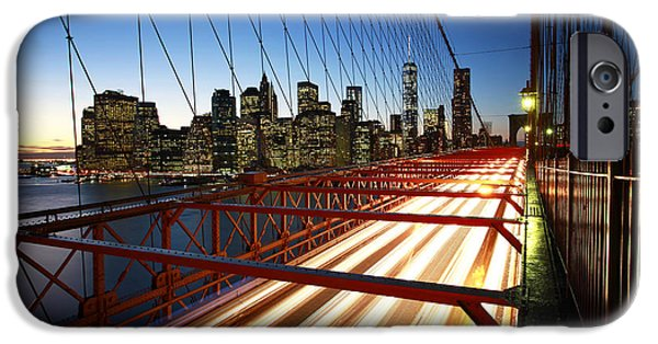 Fine Art Photo iPhone Cases - NYC Brooklyn Bridge iPhone Case by Nina Papiorek