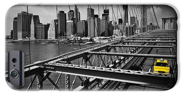 Digital Art Photographs iPhone Cases - NYC Brooklyn Bridge View iPhone Case by Melanie Viola