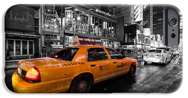 Crazy iPhone Cases - NYC cab times square color popped iPhone Case by John Farnan