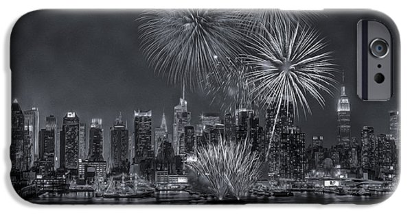 Tall Ship iPhone Cases - NYC Celebrate Fleet Week BW iPhone Case by Susan Candelario