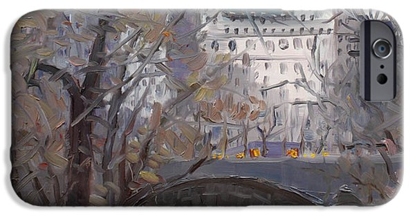 City Scenes Paintings iPhone Cases - NYC Central Park iPhone Case by Ylli Haruni