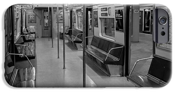 Empire State iPhone Cases - NYC F Subway Train BW iPhone Case by Susan Candelario