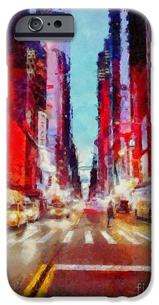 Asphalt iPhone Cases - NYC Fifth Ave iPhone Case by Janine Riley