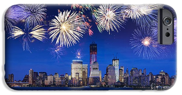 4th July Photographs iPhone Cases - NYC fireworks iPhone Case by Delphimages Photo Creations