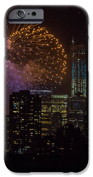 Nyc Pyrography iPhone Cases - NYC Fireworks iPhone Case by Melanie Roberge