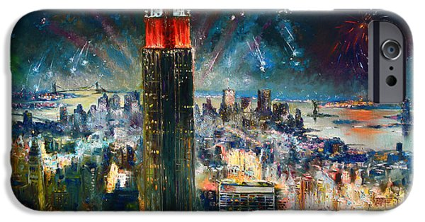 Nyc iPhone Cases - NYC in Fourth of July Independence Day iPhone Case by Ylli Haruni