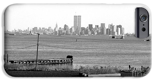 Twin Towers Nyc iPhone Cases - NYC in the Distance 1990s iPhone Case by John Rizzuto