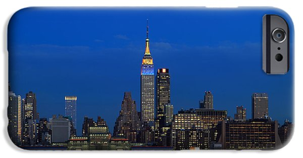 Hudson River iPhone Cases - NYC Manhattan Skyline iPhone Case by John Lan