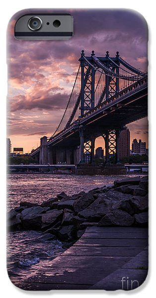 Nyc Rain iPhone Cases - NYC- Manhatten Bridge at night iPhone Case by Hannes Cmarits