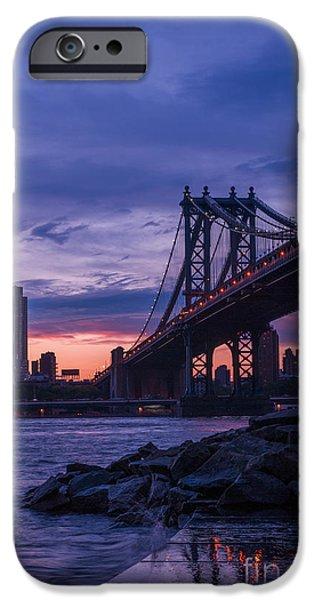 Nyc Rain iPhone Cases - NYC - Manhatten Bridge at Night II iPhone Case by Hannes Cmarits