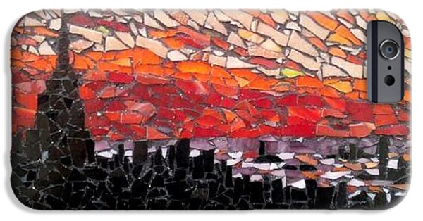 Sunset Glass Art iPhone Cases - Nyc iPhone Case by Monique Sarfity