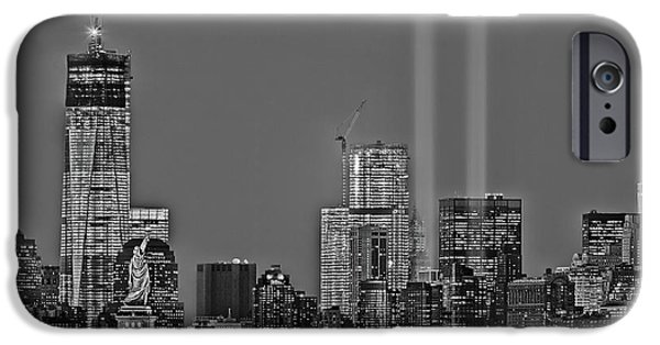 Freedom iPhone Cases - NYC Remembers September 11 BW iPhone Case by Susan Candelario