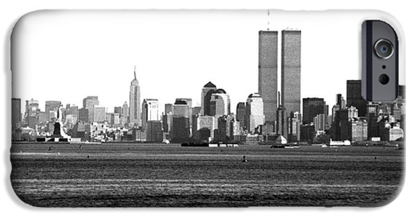 Twin Towers Nyc iPhone Cases - NYC Skyline 1990s iPhone Case by John Rizzuto
