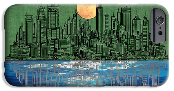 Skylines Mixed Media iPhone Cases - NYC Skyline iPhone Case by Celestial Images