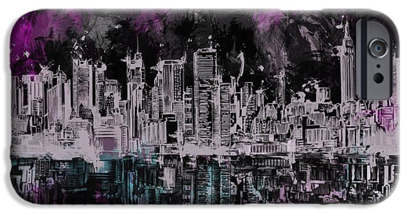 Empire State iPhone Cases - Nyc Skyline Brush Strokes iPhone Case by MB Art factory