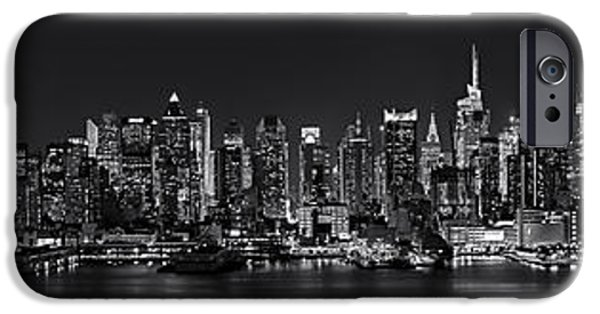 Moonscape iPhone Cases - NYC Skyline Full Moon Panorama BW iPhone Case by Susan Candelario