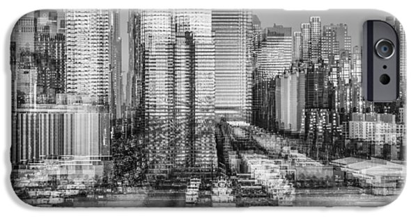 New York iPhone Cases - NYC Skyline Shapes BW iPhone Case by Susan Candelario
