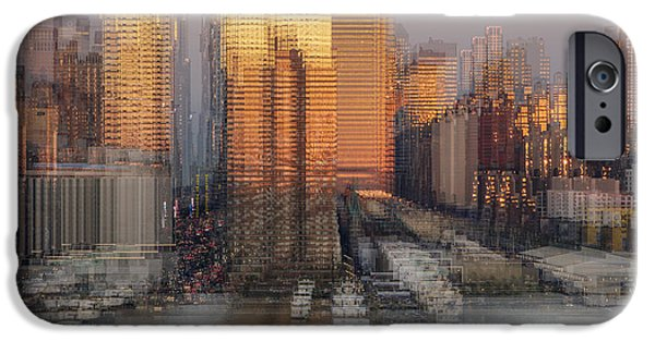 42nd Street iPhone Cases - NYC Skyline Shapes iPhone Case by Susan Candelario