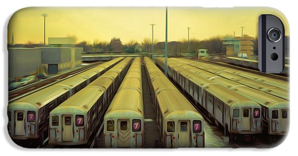 Component Paintings iPhone Cases - NYC subway cars iPhone Case by Lanjee Chee