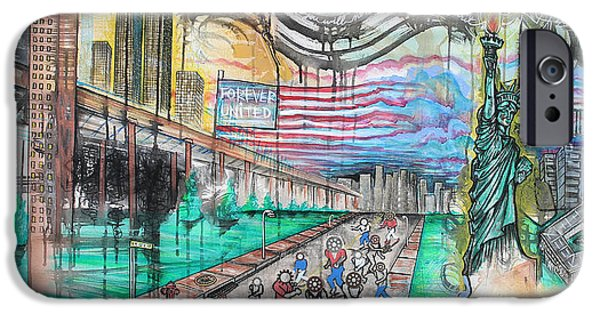 Twin Towers Nyc Paintings iPhone Cases - N.Y.C. Survives iPhone Case by Joshua Oliveira