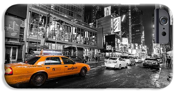 The New York New York iPhone Cases - NYC taxi times square color popped iPhone Case by John Farnan